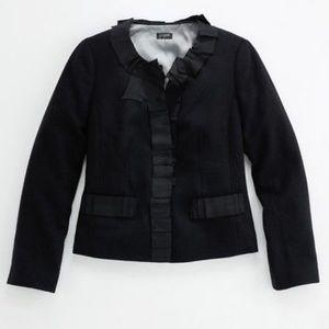 J. Crew Black Ribbon Trim Jacket Size 6
